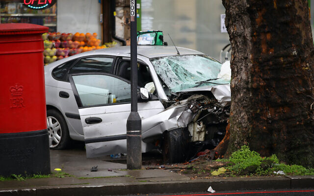 The scene of an incident in Stamford Hill in north London where a car is reported to have mounted the pavement and struck a number of pedestrians.