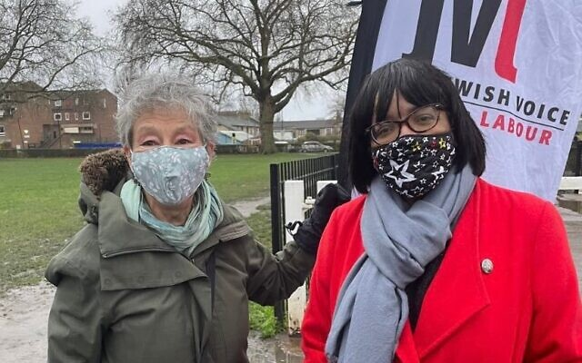 Former shadow home secretary Diane Abbott (right) and suspended Jewish Voice for Labour activist Naomi Wimborne-Idrissi