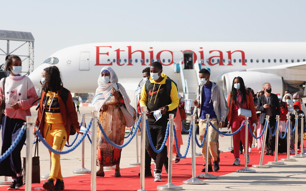Ethiopian olim exiting the plane after touching down at Ben Gurion Airport (Credit: Olivier Fitoussi, courtesy of The Jewish Agency for Israel)