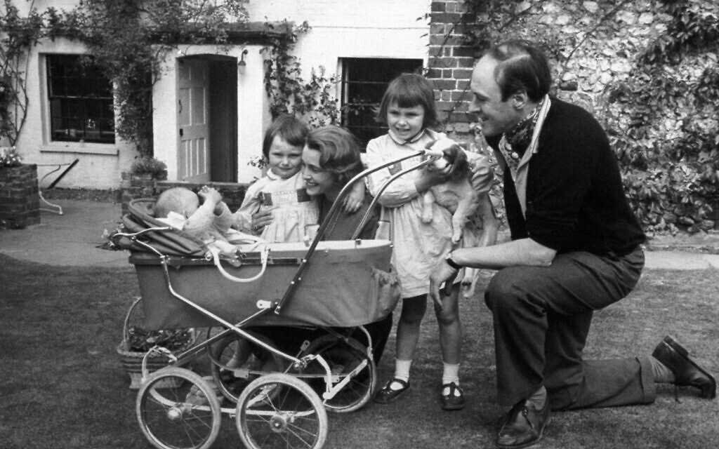 A family photograph of the children's author Roald Dahl, with his wife Patricia Neal, and children Olivia (right) Tessa, and Theo (in pram).