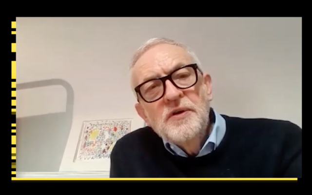 Screenshot of Jeremy Corbyn speaking on the Canary's video