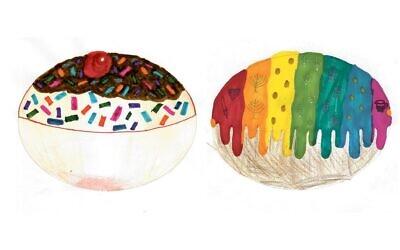 Doughnut winning designs by Keren Vaisbrot, 11, and Ariella Josephs, 9