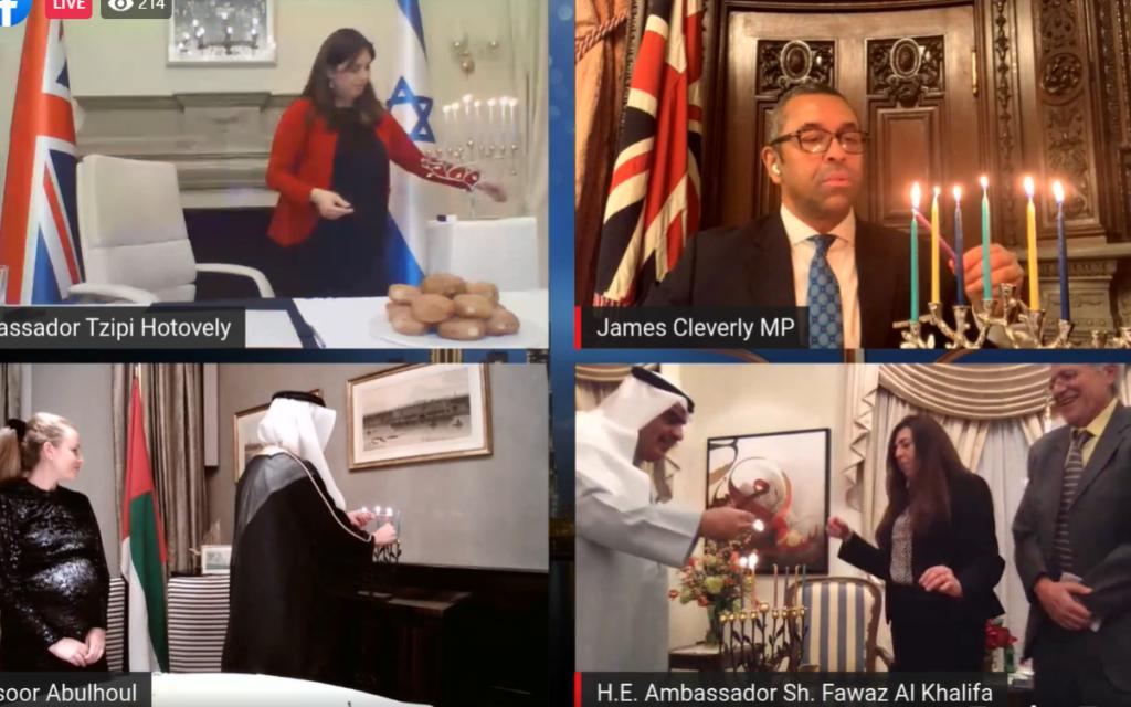 Tzipi Hotovely, James Cleverly, UAE Ambassador Mansoor Abulhoul and Bahraini Ambassador Sheikh Fawaz Al-Khalifa