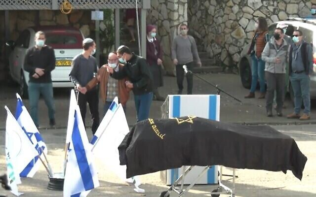 The funeral of Esther Horgen, killed in an apparent terror attack in the West Bank, December 22, 2020 (Screen grab/Ynet via Times of Israel)