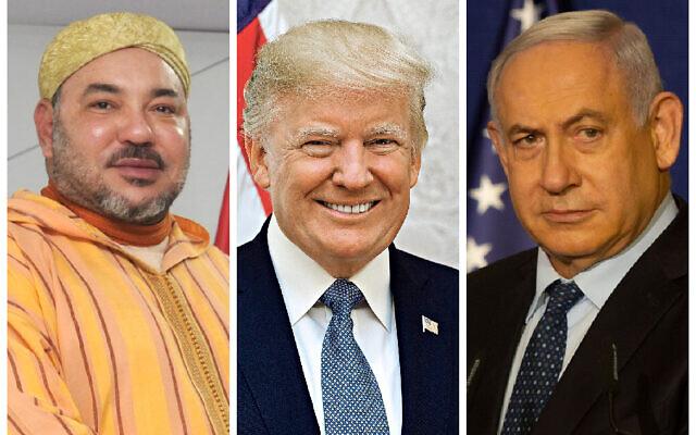 King Mohammed VI, President Donald Trump and Benjamin Netanyahu