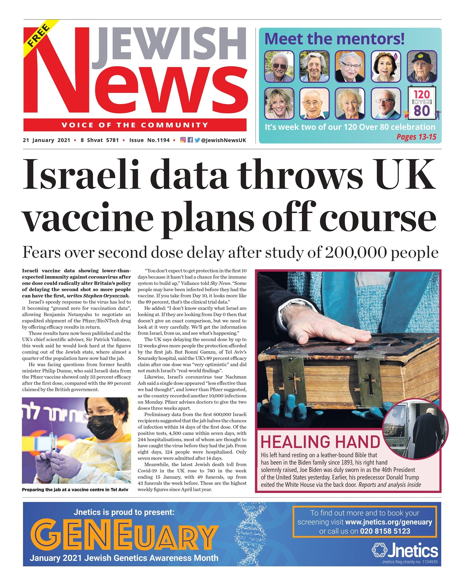 This week's Jewish News front page.