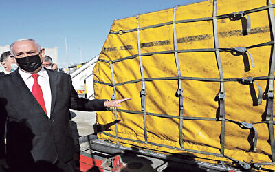 Israeli PM with a delivery of Covid vaccines