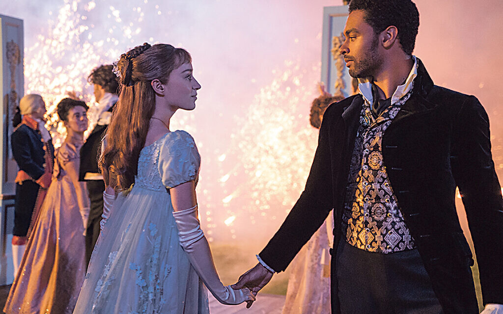 Phoebe Dynevor as Daphne Bridgerton with Rege-Jean Page as the Duke of Hastings