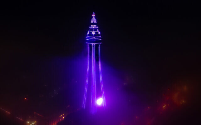 Blackpool Tower lit up for Holocaust Memorial Day (Ashley Barnard Photography)