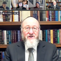 Chief Rabbi Mirvis at the teacher conference