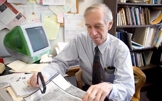 Norman Golb at work in his University of Chicago office. (Courtesy of the University of Chicago via JTA)