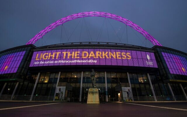 Wembley Stadium Lit up for Holocaust Memorial Day