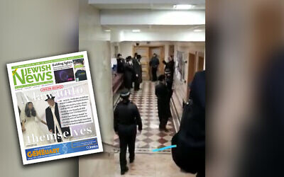 Screen-grab from JN video of police intervening at a shul in Stamford Hill where a simcha is taking place