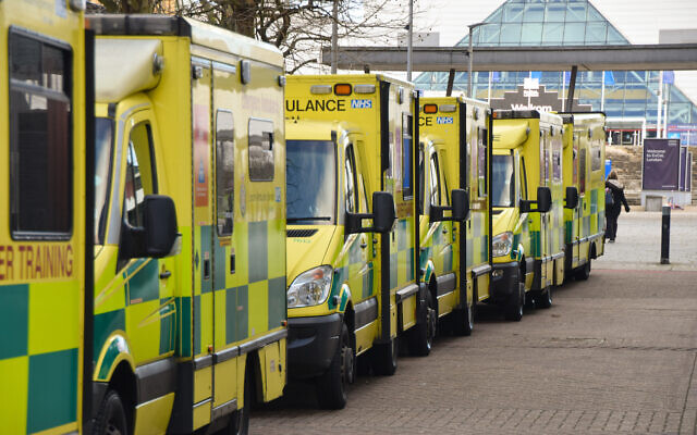 Ambulance vehicles outside the ExCeL centre in East London. (Photo by Vuk Valcic / SOPA Images/Sipa USA)