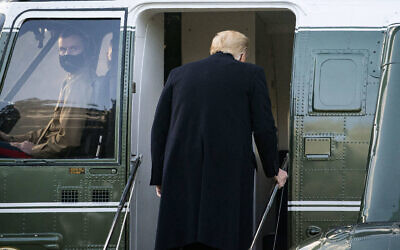 U.S. President Donald Trump boards Marine One on the South Lawn of the White House in Washington, D.C., U.S., on Wednesday, Jan. 20, 2021. Photo by Al Drago/Pool/ABACAPRESS.COM