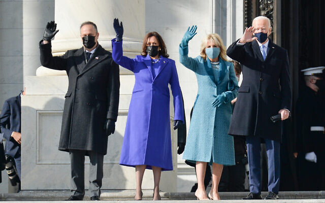 Doug Emhoff, Vice President-elect Kamala Harris, Dr. Jill Biden and President-elect Joe Biden wave to spectators arrive for the Inauguration Day ceremony of President-Elect Joe Biden and Vice President-Elect Kamala Harris held at the U.S. Capitol Building in Washington, D.C. on Jan. 20, 2021. President-elect Joe Biden becomes the 46th President of the United States at noon on Inauguration Day. (Photo by Anthony Behar/Sipa USA)
