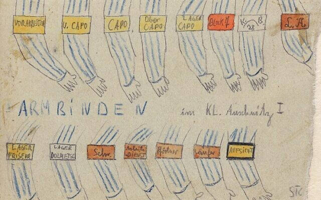 Armbands showing the prisoner hierarchy at Auschwitz