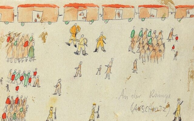 Thomas' sketch of the selection on the ramp was chosen to be etched onto a memorial wall at Auschwitz