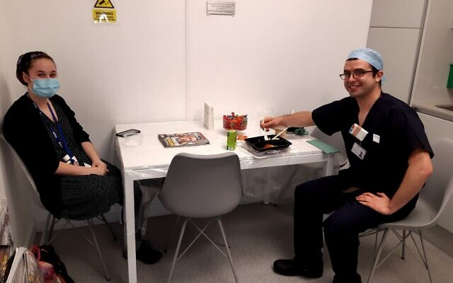 Jewish members of staff at the Royal Free tuck into kosher food while taking a break from battling the pandemic