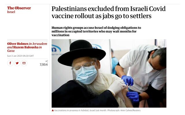 Headline in the Observer saying Palestinians had been 'excluded'