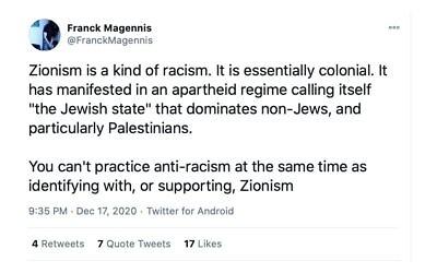 Franck Magennis' tweet