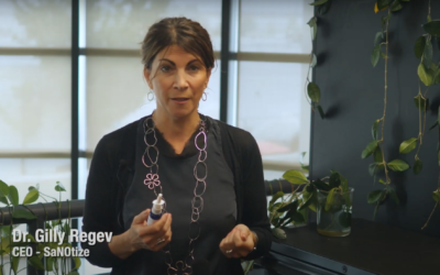 Dr Gilly Regev, who co-founded SaNOtize Research and Development Corp, speaking during a promotional video for its nasal spray