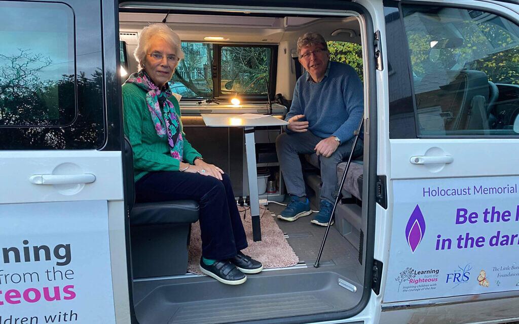 Eva Clarke with Anthony in his van