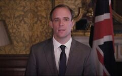 Dominic Raab speaking during the event
