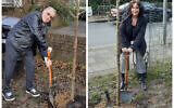 Leslie Gold and Andrea Laurence planting trees