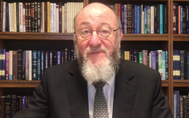 Chief Rabbi Mirvis spoke of the need to celebrate safely in a video message
