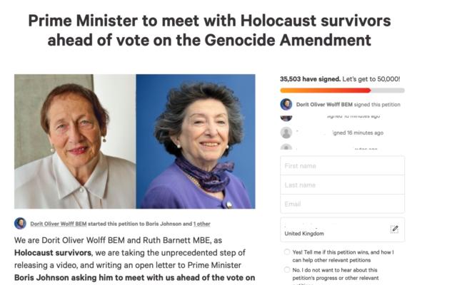 Screenshot fo the petition to Boris Johnson