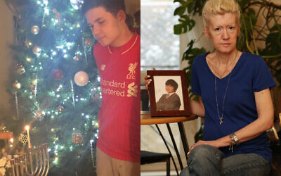 Left: Sven celebrating Chanukah and Christmas. Right: His grieving mother Jasna holding a picture of her only son