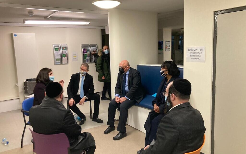Diane Abbott and Nadhim Zahawi meeting Jewish leaders at the vaccination centre in Hackney