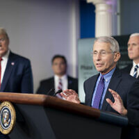 Director of the National Institute of Allergy and Infectious Diseases Dr. Anthony S. Fauci delivers remarks during a coronavirus update briefing.  In the background are  President Trump and Vice President Mike Pence,  (Official White House Photo by Andrea Hanks/ Wikipedia/Source	White House Coronavirus Update Briefing Author	The White House from Washington, DC/  )