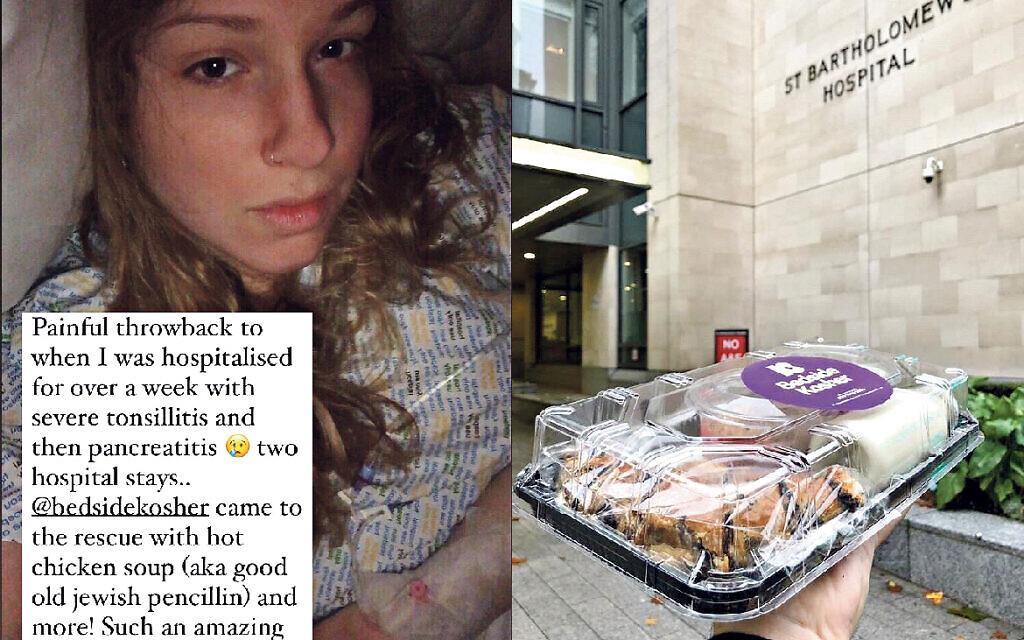 Left: Naomi's social media post from hospital. Right: A volunteer from Bedside Kosher delivers kosher food