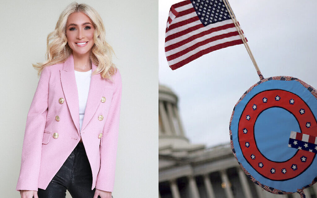 Melissa Rein Lively and a QAnon flag