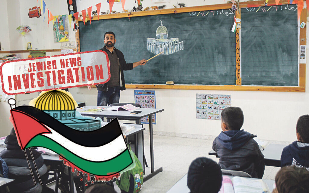 Palestinian Grade 5 class exercise… Colour in a Palestinian flag, dripping with blood, against the backdrop of the Dome of the Rock