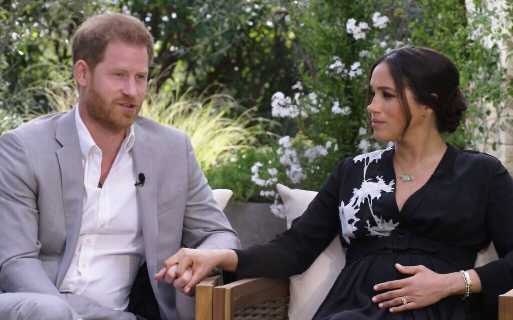 Duke and Duchess of Sussex during their interview with Oprah Winfrey (ITV Hub /Harpo Productions/CBS / PA Media)