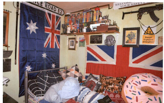 """Bedroom of far-right sympathiser Nicholas Brock who was convicted of three counts of possession of a document likely to be useful to a terrorist at Kingston Crown Court on Tuesday. Brock, 53, from Maidenhead, Berkshire, owned a framed """"certificate of recognition"""" from the Ku Klux Klan, a DVD called SS Experiment Camp, a collection of Nazi-era daggers and a racist book about owning a black slave. Issue date:  Photo issued by Thames Valley Police"""