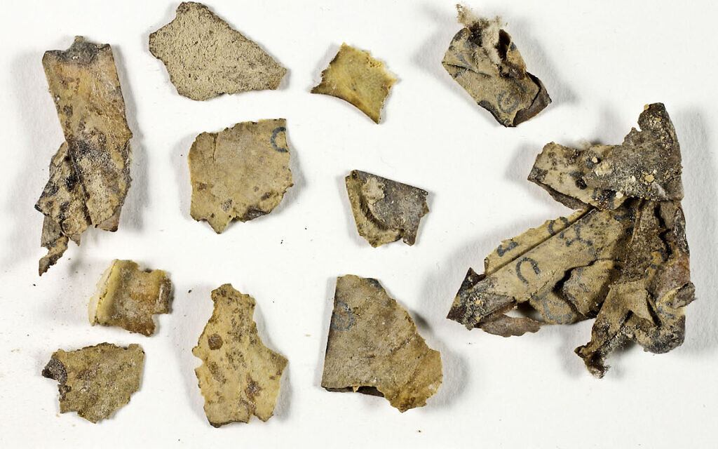 The Scrolls Fragments before conservation in the IAA Lab. Credit: Shai Halevi Israel Antiquities Authority