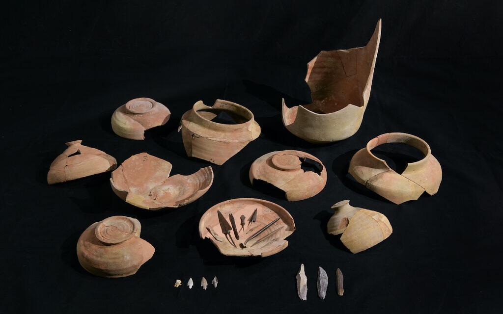 Qumran broken Jars and Arrowehads were found. Photo Dafna Gazit Israel Antiquities Authority