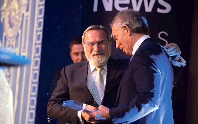 Lord Sacks with Tony Blair at The Jewish News Night of Heroes. (C) Blake Ezra Photography Ltd.