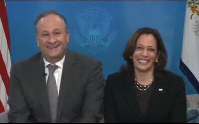 Doug Emhoff and Kamala Harris at the virtual seder event