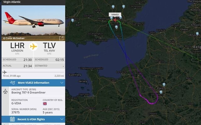 Screenshot from @ AirportWebcams on Twitter showing the Virgin flight turning around and heading back to Heathrow