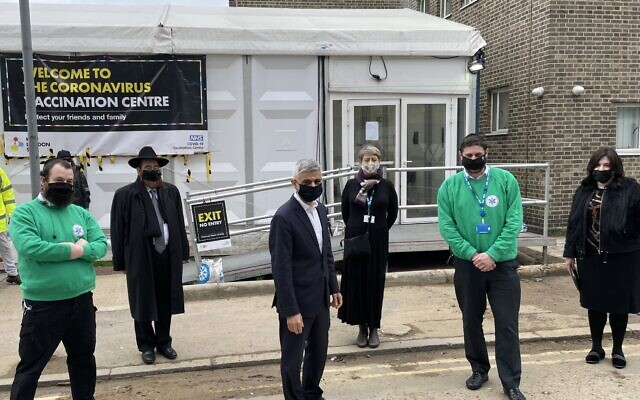 Sadiq Khan in Hackney attending the third mass-vaccination event for the strictly-orthodox community