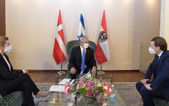 Israel's Benjamin Netanyahu with Danish Prime Minister Mette Frederiksen (left) and Austria's Sebastian Kurz (Photo: Twitter/@IsraeliPM)