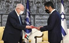 President Reuven Rivlin accepts credentials from the UAE's first ambassador to Israel, Mohamed Mahmoud Fateh Ali Al Khaja