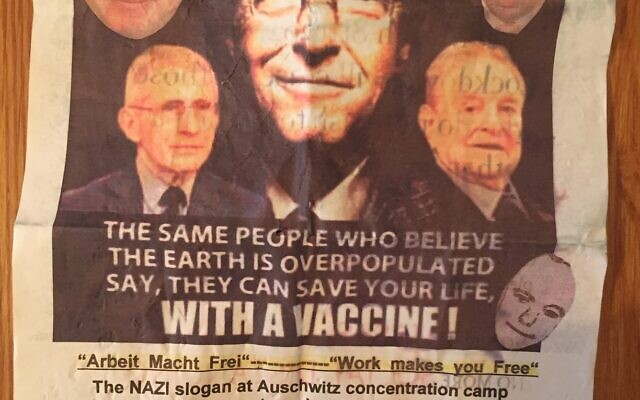 The leaflets compare the vaccines to the Holocaust