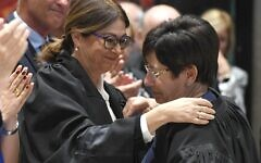 Supreme Court president Esther Hayut (left), pictured at her appointment in October 2017 (Credit: Israeli Government Press Office)