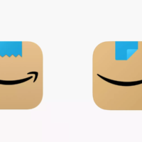 The old logo, left, shown next to the new one, conjured comparisons to Hitler for some. (Screen shots from Amazon via JTA)